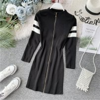 Dress Autumn of 2019 Black, white Average size Mid length dress singleton  Long sleeves commute Half high collar High waist Solid color zipper A-line skirt routine Others 18-24 years old Type A Korean version Panel, zipper 31% (inclusive) - 50% (inclusive) knitting other