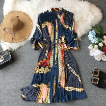 Dress Spring of 2019 Average size Middle-skirt singleton  Long sleeves commute Crew neck High waist Decor Single breasted Irregular skirt routine Others 18-24 years old Type A Korean version other