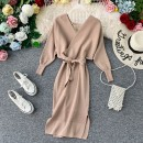 Dress Autumn of 2019 Apricot, green, red, black, gray Average size Mid length dress singleton  Long sleeves commute V-neck High waist Solid color Socket One pace skirt Bat sleeve Others 18-24 years old Type A Korean version Open back, lace up, stitching, asymmetry, bandage, wave knitting other