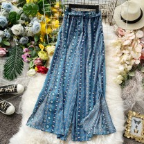 Casual pants S,M,L Summer 2020 Ninth pants Wide leg pants High waist Versatile Thin money 18-24 years old 30% and below Bandage Asymmetry