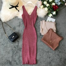 Dress Summer of 2019 Average size Mid length dress singleton  Sleeveless commute V-neck High waist Solid color Socket One pace skirt other camisole 18-24 years old Type X Korean version Open back, zipper 31% (inclusive) - 50% (inclusive) knitting