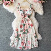 Dress Summer 2021 Emerald dress Average size Mid length dress singleton  Sleeveless commute square neck High waist Decor other A-line skirt routine camisole 18-24 years old Type A Korean version Frenulum 30% and below other other