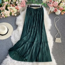 skirt Summer 2021 S,M,L,XL green Mid length dress commute High waist other Solid color Type A 18-24 years old Pleating, folding, stitching
