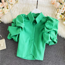 shirt Fluorescent green, black, white Average size Summer 2021 other 30% and below Long sleeves commute Short style (40cm < length ≤ 50cm) Polo collar Single row multi button routine 18-24 years old Straight cylinder