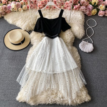 Dress Winter 2020 black M, L Mid length dress singleton  Short sleeve commute square neck High waist Solid color Socket A-line skirt routine straps 18-24 years old Type A Korean version 30% and below other other