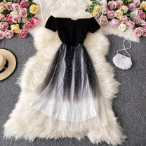 Dress Autumn 2020 black S,M,L Mid length dress singleton  Short sleeve commute One word collar High waist other Socket A-line skirt routine Breast wrapping 18-24 years old Type A Korean version 30% and below other other