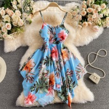 Dress Summer 2021 Sky blue, white, red Average size Short skirt singleton  Sleeveless commute other High waist Decor Socket Irregular skirt other camisole 18-24 years old Type A Korean version Lace up, printed 30% and below other other