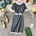 Dress Summer 2020 Gray, black, red, green, blue Average size Mid length dress singleton  Short sleeve commute Crew neck High waist Solid color Socket A-line skirt routine Others 18-24 years old Type A Korean version Splicing knitting