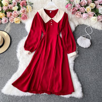 Dress Autumn 2020 black , red , blue , brown , Apricot , dark grey , Light green Average size Mid length dress singleton  Long sleeves commute Lotus leaf collar High waist Solid color Socket A-line skirt routine Others 18-24 years old Type A Korean version 30% and below other other