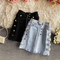 skirt Summer 2021 S,M,L Black, light blue Short skirt commute High waist A-line skirt Solid color Type A 18-24 years old 30% and below other other Three dimensional decoration, button, zipper