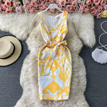 Dress Spring 2021 yellow S,M,L,XL Short skirt singleton  Sleeveless commute V-neck High waist Solid color Socket A-line skirt routine Others 18-24 years old Type A Korean version Bowknot, tuck, lace up, stitching, asymmetry, bandage, wave, print 30% and below other other