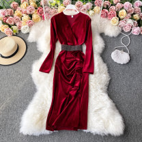 Dress Winter 2020 Red, black, purple, blue M, L Mid length dress singleton  Long sleeves commute V-neck High waist Solid color Socket A-line skirt routine Others 18-24 years old Type A Korean version 30% and below other other