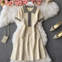 Dress Summer 2021 Apricot Average size Short skirt singleton  Short sleeve commute Polo collar High waist Solid color Socket A-line skirt routine 18-24 years old Type A Korean version zipper 30% and below other other