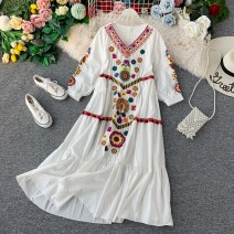 Dress Autumn of 2019 White, yellow S,M,L Mid length dress singleton  Long sleeves commute V-neck High waist Solid color Socket A-line skirt bishop sleeve Others 18-24 years old Type A Korean version Embroidery, stitching 31% (inclusive) - 50% (inclusive) other other