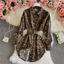 shirt Dark brown, khaki Average size Summer 2021 other 30% and below Long sleeves commute Regular Polo collar Single row multi button routine Leopard Print 18-24 years old Self cultivation Lace up, asymmetric, button blending
