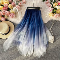skirt Summer 2021 Average size Blue, khaki, green gray, black blue Mid length dress commute High waist other Decor Type A 18-24 years old Asymmetry