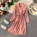 Dress Spring 2021 Average size Mid length dress singleton  Long sleeves commute Polo collar High waist Solid color Socket A-line skirt routine Others 25-29 years old Type A Korean version 30% and below other polyester fiber