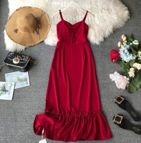 Dress Summer of 2019 claret S,M,L,XL Mid length dress singleton  Sleeveless commute V-neck High waist Solid color Socket Ruffle Skirt other camisole 18-24 years old Type A Korean version Ruffles, folds, stitches, waves, buttons Chiffon