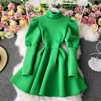 Dress Winter 2020 Green, white, black, red Average size Mid length dress singleton  Long sleeves commute Crew neck High waist Solid color Socket A-line skirt routine Others 18-24 years old Type A Korean version 30% and below other other