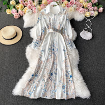 Dress Winter 2020 white Average size Mid length dress singleton  Long sleeves commute Polo collar High waist Decor Socket A-line skirt routine Others 18-24 years old Type A Korean version 30% and below other other