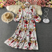 Dress Summer 2021 white Average size Mid length dress singleton  Long sleeves commute Polo collar High waist Decor Single breasted A-line skirt bishop sleeve Others 18-24 years old Type A Korean version Button 30% and below other other