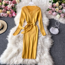 Dress Autumn 2020 Light blue, yellow, red, black, pink, crimson Average size Mid length dress singleton  Long sleeves commute V-neck High waist Solid color Socket A-line skirt routine Others 18-24 years old Type A Korean version 30% and below other other
