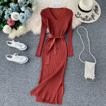 Dress Autumn of 2019 Average size Mid length dress singleton  Long sleeves commute V-neck High waist Solid color Socket A-line skirt routine Others 18-24 years old Type A Korean version 31% (inclusive) - 50% (inclusive) knitting other