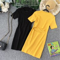 Dress Summer of 2019 Black, yellow Average size Middle-skirt singleton  Short sleeve commute Crew neck High waist Solid color Socket A-line skirt other Others 18-24 years old Type A Korean version Ruffles, ruffles, waves knitting