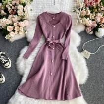 Dress Winter 2020 Average size longuette singleton  Long sleeves commute other High waist other Socket A-line skirt routine 18-24 years old Type A Korean version Lace up, button 30% and below other other