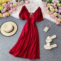 Dress Summer 2020 Red, black M, L Mid length dress singleton  Short sleeve commute square neck High waist Solid color Socket A-line skirt other Others 18-24 years old Type A Korean version 30% and below other other