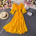 Dress Autumn 2020 Yellow, white S,M,L Mid length dress singleton  Long sleeves commute One word collar High waist Solid color Socket A-line skirt routine Others 18-24 years old Type A Korean version 30% and below other other