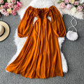 Dress Autumn 2020 Average size Mid length dress singleton  Long sleeves commute One word collar High waist Solid color Socket A-line skirt routine Others 18-24 years old Type A Korean version 30% and below other other