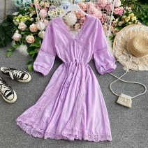 Dress Summer 2020 Violet, red, white Average size Middle-skirt singleton  Short sleeve commute V-neck Elastic waist Solid color Socket A-line skirt routine Others 18-24 years old Type A Korean version 30% and below