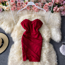Dress Winter 2020 Average size Short skirt singleton  Long sleeves commute One word collar High waist Solid color Socket One pace skirt routine Others 18-24 years old Type A Korean version 30% and below other other
