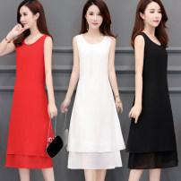 Vest sling Summer 2020 Black, red, sapphire, pink meat, lotus root M,L,XL,2XL,3XL singleton  Medium length easy Versatile Solid color