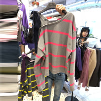 T-shirt Picture color S,M,L,XL Autumn 2020 Long sleeves One word collar easy Regular routine commute cotton 96% and above 18-24 years old Korean version originality Thin horizontal stripe Stitching, bows