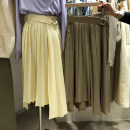skirt Spring 2020 S,M,L,XL Yellow (with belt), khaki (with belt) Mid length dress commute High waist Pleated skirt Solid color Type A 18-24 years old More than 95% other other Fold, resin fixation Korean version