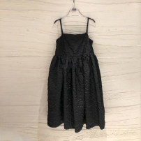 Dress Spring 2021 Black, beige S,M,L,XL Mid length dress singleton  Sleeveless commute One word collar High waist Solid color other A-line skirt other camisole 18-24 years old Type A Korean version Resin fixation More than 95% other other