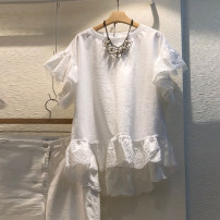 T-shirt white S,M,L,XL Summer 2021 Short sleeve Crew neck easy Regular Lotus leaf sleeve commute cotton 96% and above 18-24 years old Korean version originality Solid color