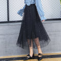 skirt Spring 2021 Average size black , white , Apricot , Smoky grey , Pink Short skirt commute High waist A-line skirt Solid color Type A 25-29 years old More than 95% other other Gauze , Asymmetry , Splicing , Pleating