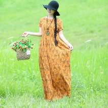 Dress Summer of 2019 Yellow, red L,XL longuette singleton  Short sleeve commute Crew neck Loose waist Broken flowers Socket Big swing 40-49 years old Type A ethnic style printing 51% (inclusive) - 70% (inclusive) cotton