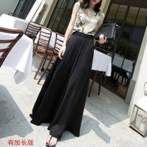 Casual pants S. M, l, XL, 2XL, waist size can be worn Summer 2021 trousers Wide leg pants High waist Thin money 18-24 years old 91% (inclusive) - 95% (inclusive) qk1805 polyester fiber polyester fiber