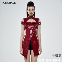 Dress Summer 2020 Red, black XS,S,M,L,XL,2XL,3XL,4XL Middle-skirt singleton  Short sleeve street High collar middle-waisted Single breasted Irregular skirt Others 25-29 years old Type A PUNK RAVE 51% (inclusive) - 70% (inclusive) other PU Punk