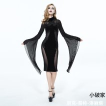 Dress Spring 2021 black longuette singleton  Long sleeves commute Crew neck High waist Solid color Socket One pace skirt routine Others 25-29 years old Type H Device fashion Retro Lace 91% (inclusive) - 95% (inclusive) Lace polyester fiber