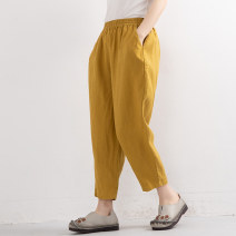 Casual pants White, yellow, brown, Navy, mami white, tiexiu red, scarlet M, L Summer 2020 Cropped Trousers Haren pants Natural waist commute Thin money 96% and above Ben Lilai hemp literature pocket hemp