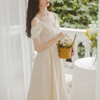 Dress Summer 2020 Smile / drop shoulder dress S,M,L Mid length dress singleton  Short sleeve commute Crew neck High waist Solid color Single breasted A-line skirt Wrap sleeves camisole Type X Meeda / Mida literature Button Chiffon