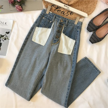 Jeans Autumn of 2018 wathet S,M,L trousers High waist Straight pants routine 25-29 years old Whitening Coated denim light colour 81% (inclusive) - 90% (inclusive)