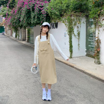 Dress Spring 2021 Milk tea color S,M,L Mid length dress singleton  Sweet Solid color A-line skirt straps 18-24 years old Type A Other / other Patch, pocket, stitching, three-dimensional decoration, strap More than 95% polyester fiber solar system