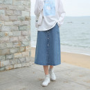 skirt Spring 2021 S,M,L Denim blue Middle-skirt Sweet High waist A-line skirt Solid color Type A 18-24 years old More than 95% Denim Other / other cotton Three dimensional decoration , Button , Splicing , Lace solar system