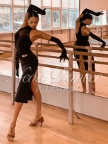 Latin dance practice set black NEON DANCER female Custom made with chest pad and gloves C601